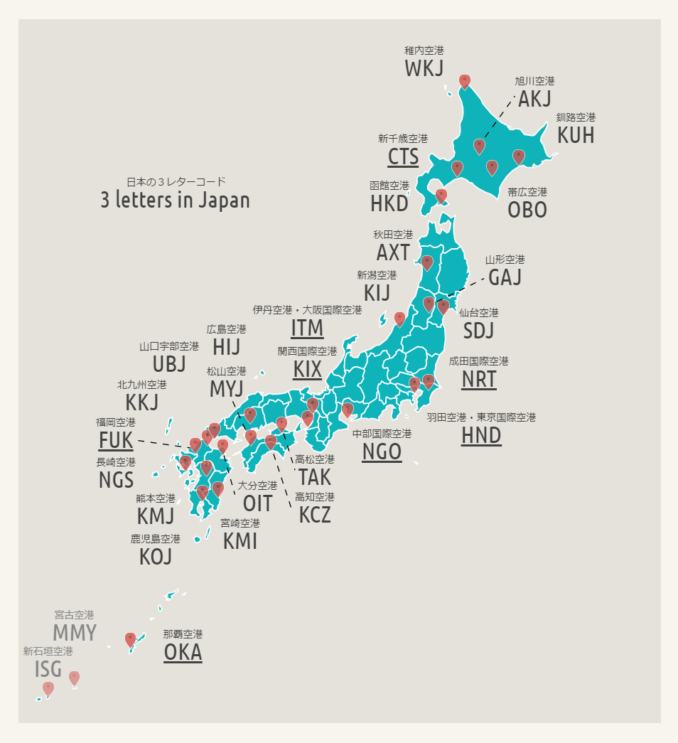 国内の3コード in 日本地図